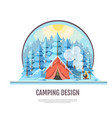 flat style design of winter forest and camping vector image vector image