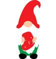 happy christmas gnome with christmas socks on vector image vector image