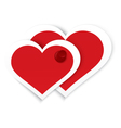 Heart stickers push pinned vector image vector image