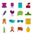 independence day flag icons doodle set vector image vector image