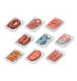 isometric disposable food pack meat fish sausage vector image vector image