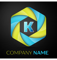 K Letter colorful logo in the hexagonal on black vector image vector image