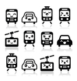 Kawaii cute icons - car bus train tram vector image vector image