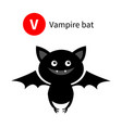 letter v vampire bat zoo animal alphabet english vector image