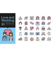 love and wedding icons filled outline icon design vector image vector image