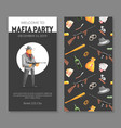 mafia party card template with gangsters objects vector image vector image