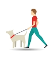 man walking a white dog vector image vector image