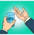 Medication health pills in hand vector image vector image