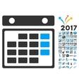 Month Calendar Icon With 2017 Year Bonus Symbols vector image vector image