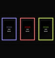 neon frame rectangle banner realistic neon vector image vector image