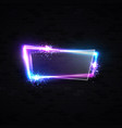neon sign with glass texture plate on black brick vector image vector image