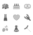 Oktoberfest set icons in monochrome style Big vector image vector image