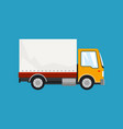 orange small truck on blue background vector image