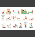 people member fitness class working out vector image