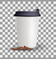 realistic blank and plain paper cup mockup with vector image vector image