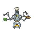robot cook chef sketch engraving vector image vector image