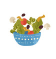 salad bowl with vegetables and greens isolated on vector image vector image