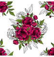 seamless pattern bouquets red luxury peonies vector image