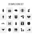 set of 20 editable family icons includes symbols vector image vector image