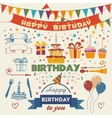 Set of birthday party flat design elements vector image vector image