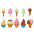 set of ice cream cartoon icon summer sundae logo vector image