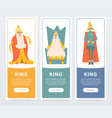 set of vertical banners with different funny kings vector image