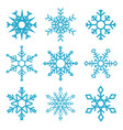 set snowflake icons isolated on white vector image
