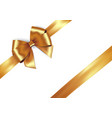 shiny golden satin ribbon on white background vector image vector image