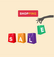 shopping hand hold shopping sale bag background ve vector image vector image
