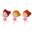 three girl in pink ballet outfit vector image