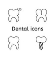 tooth icons set set of dental outline vector image