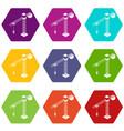 tower crane icons set 9 vector image