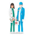 two doctors in coat with stethoscope and case vector image