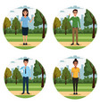 young people in park scenery vector image vector image