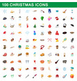 100 christmas icons set cartoon style vector image vector image