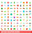 100 sea vacation icons set cartoon style vector image vector image
