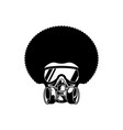 Afro man with gas mask design flat