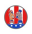 american donkey and elephant boxing usa flag vector image
