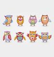 artistic cute owl set vector image vector image