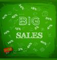 big sales on green chalkboard vector image