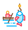 boat fishing canoeing icon vector image