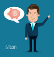 businessman with bitcoin business vector image vector image