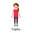 cartoon little frighten girl vector image vector image