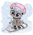 cartoon mouse girl on a snowboard on a blue vector image