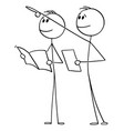 cartoon two men or tourists looking and vector image