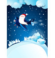 christmas eve with funny santa vector image