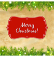 Christmas Tree Frame With Label vector image vector image