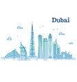 colorful detailed dubai line cityscape vector image