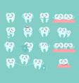 cute cartoon teeth dentistry problems and treat vector image