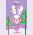 cute rabbit happy christmas tags vector image vector image